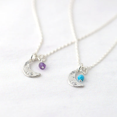 Moon Birthstone Necklace - Handmade Jewelry by Burnish