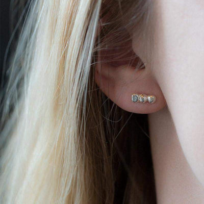 Nugget Bar Stud Earrings - Handmade Jewelry by Burnish