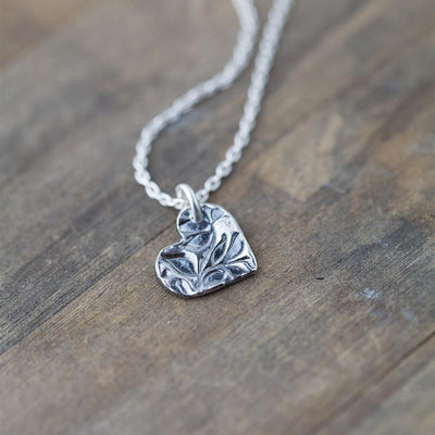 ONLY 1 - Floral Heart Necklace - Handmade Jewelry by Burnish