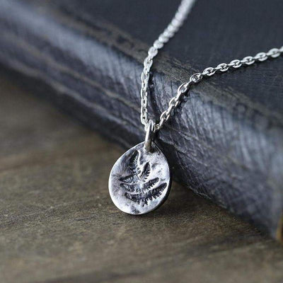 ONLY 1 - Tiny Fern Leaf Necklace - Handmade Jewelry by Burnish