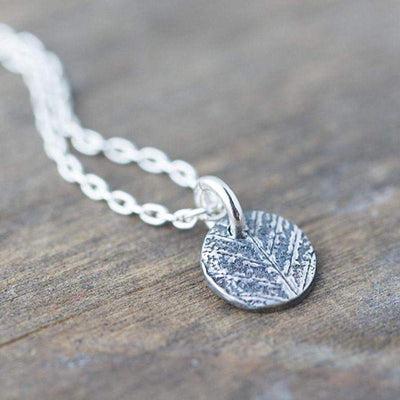ONLY 1 - Tiny Leaf Dot Necklace - Handmade Jewelry by Burnish