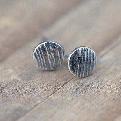 ONLY 1 - Woodgrain Dot Post Earrings - Handmade Jewelry by Burnish