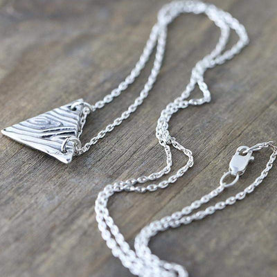 ONLY 1 - Woodgrain Triangle Necklace - Handmade Jewelry by Burnish