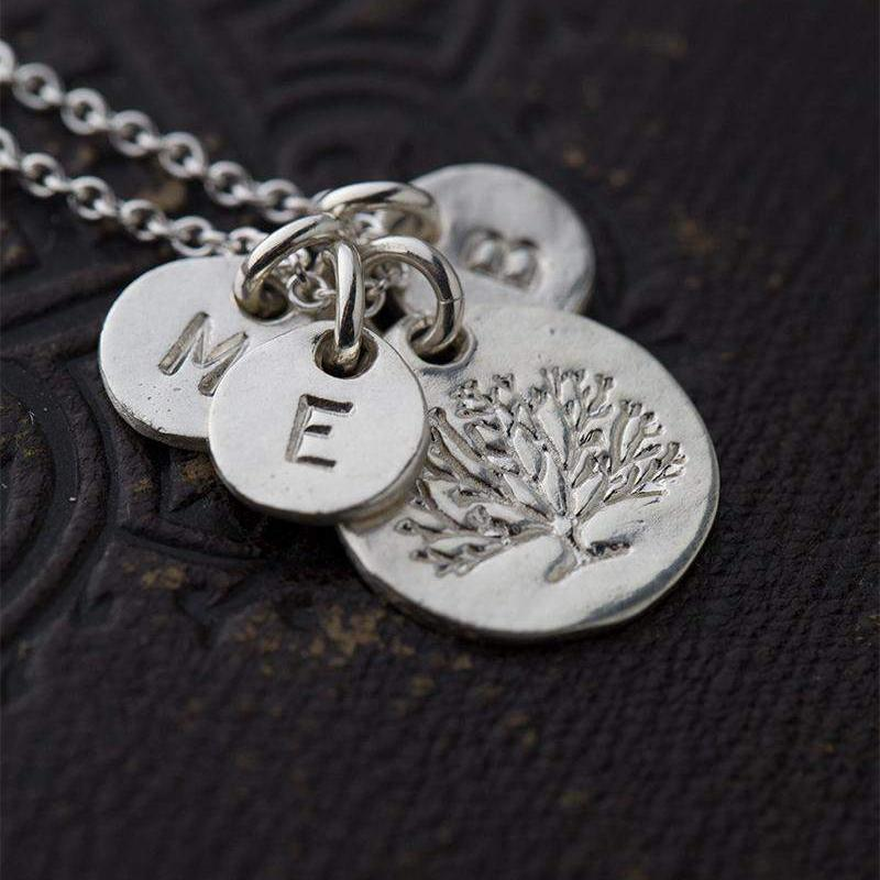 Organic Family Tree Initial Necklace - Handmade Jewelry by Burnish