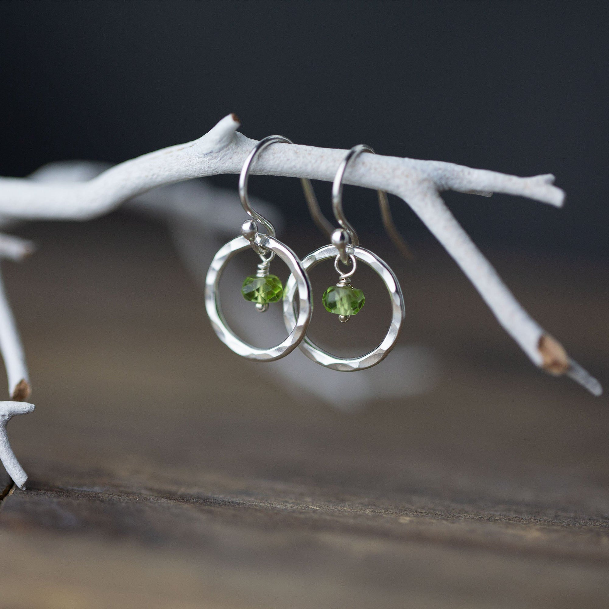 Peridot Hammered Silver Circle Earrings - Handmade Jewelry by Burnish