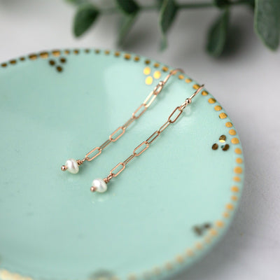 Rose Gold Chain Pearl Drop Earrings - Handmade Jewelry by Burnish