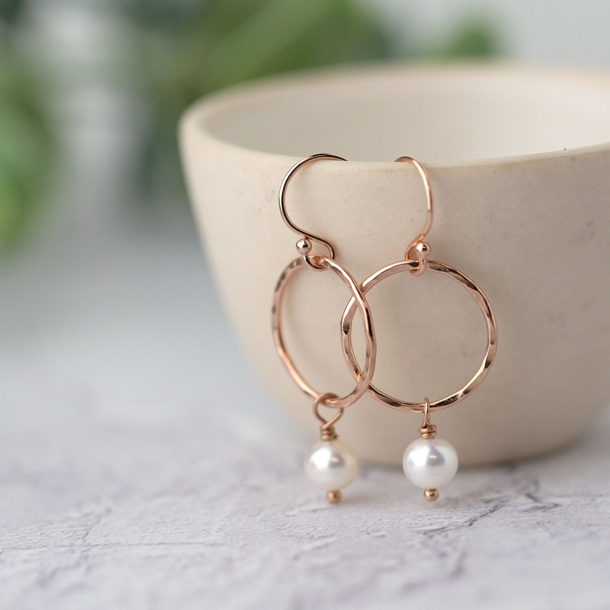 Rose Gold Circle Pearl Earrings - Handmade Jewelry by Burnish