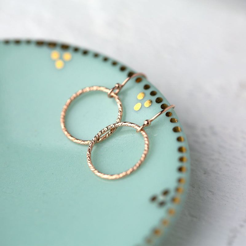 Rose Gold Sparkle Circle Earrings - Handmade Jewelry by Burnish