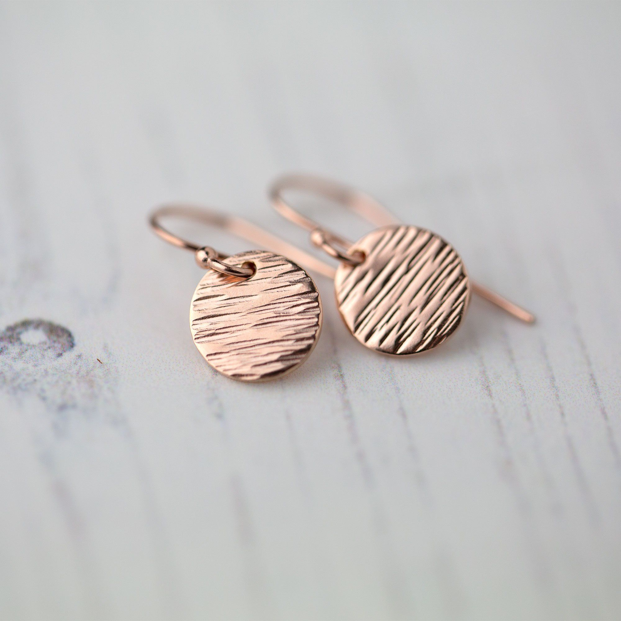 Rose Gold Textured Disc Earrings - Handmade Jewelry by Burnish