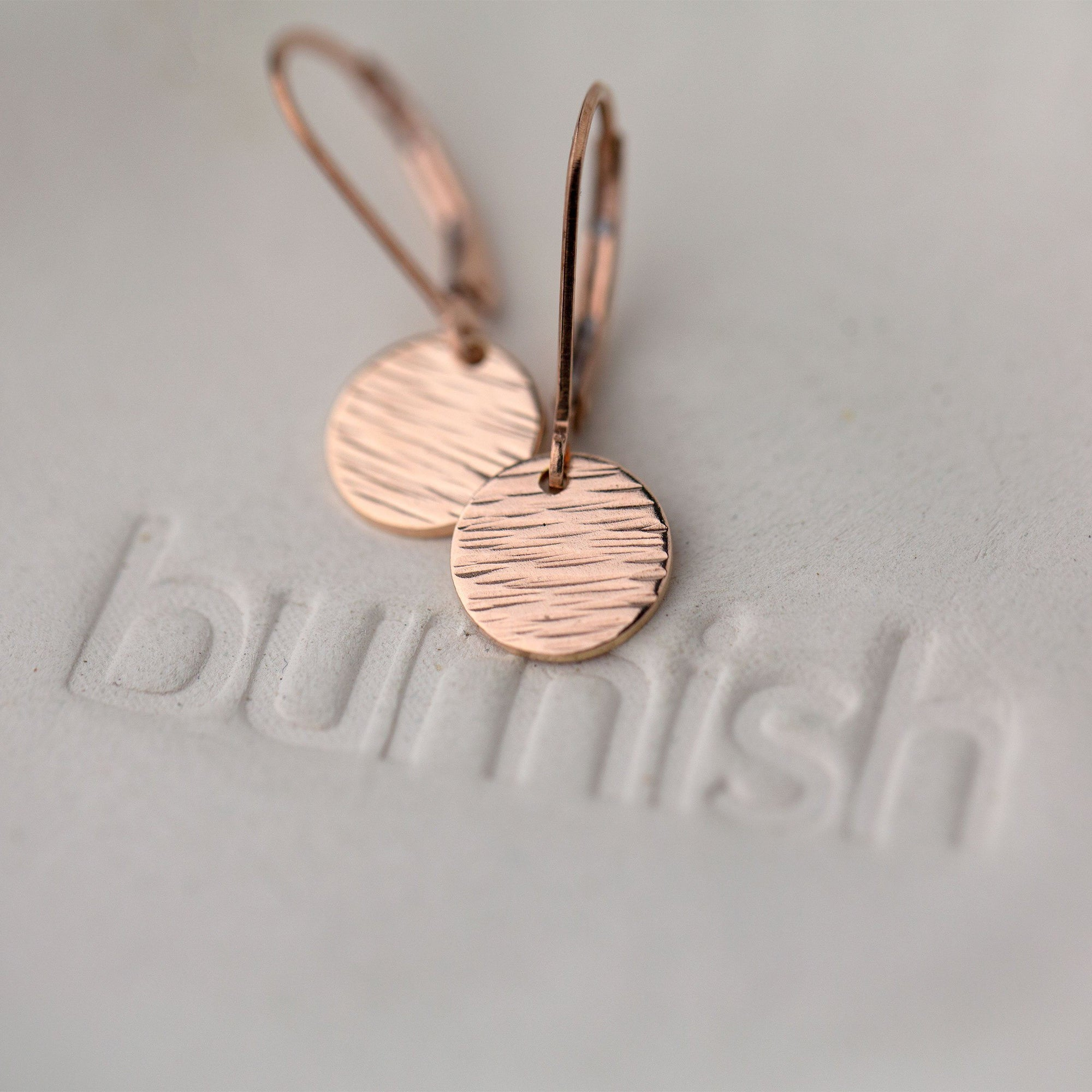 Rose Gold Textured Disc Lever-back Earrings - Handmade Jewelry by Burnish