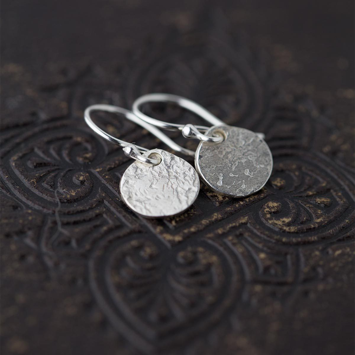 Rustic Disk Earrings - Handmade Jewelry by Burnish