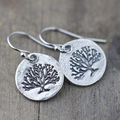 Rustic Tree of Life Earrings - Handmade Jewelry by Burnish
