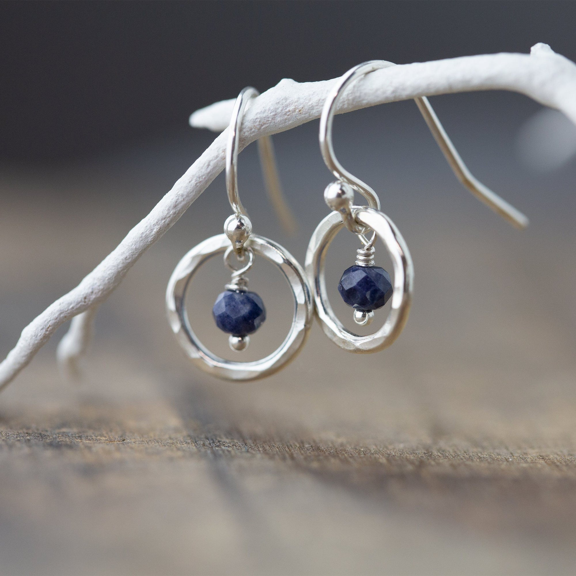 Sapphire Hammered Circle Earrings - Handmade Jewelry by Burnish