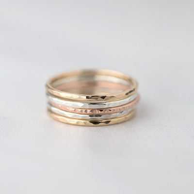 Set of 5 Thin Stacking Rings - Handmade Jewelry by Burnish