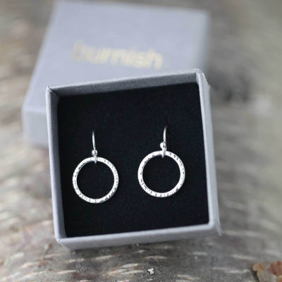Silver Bark Circle Earrings - Handmade Jewelry by Burnish