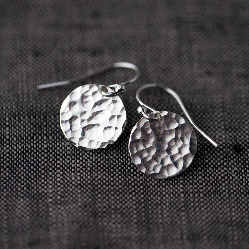 Silver Medium Hammered Disk Earrings - Handmade Jewelry by Burnish