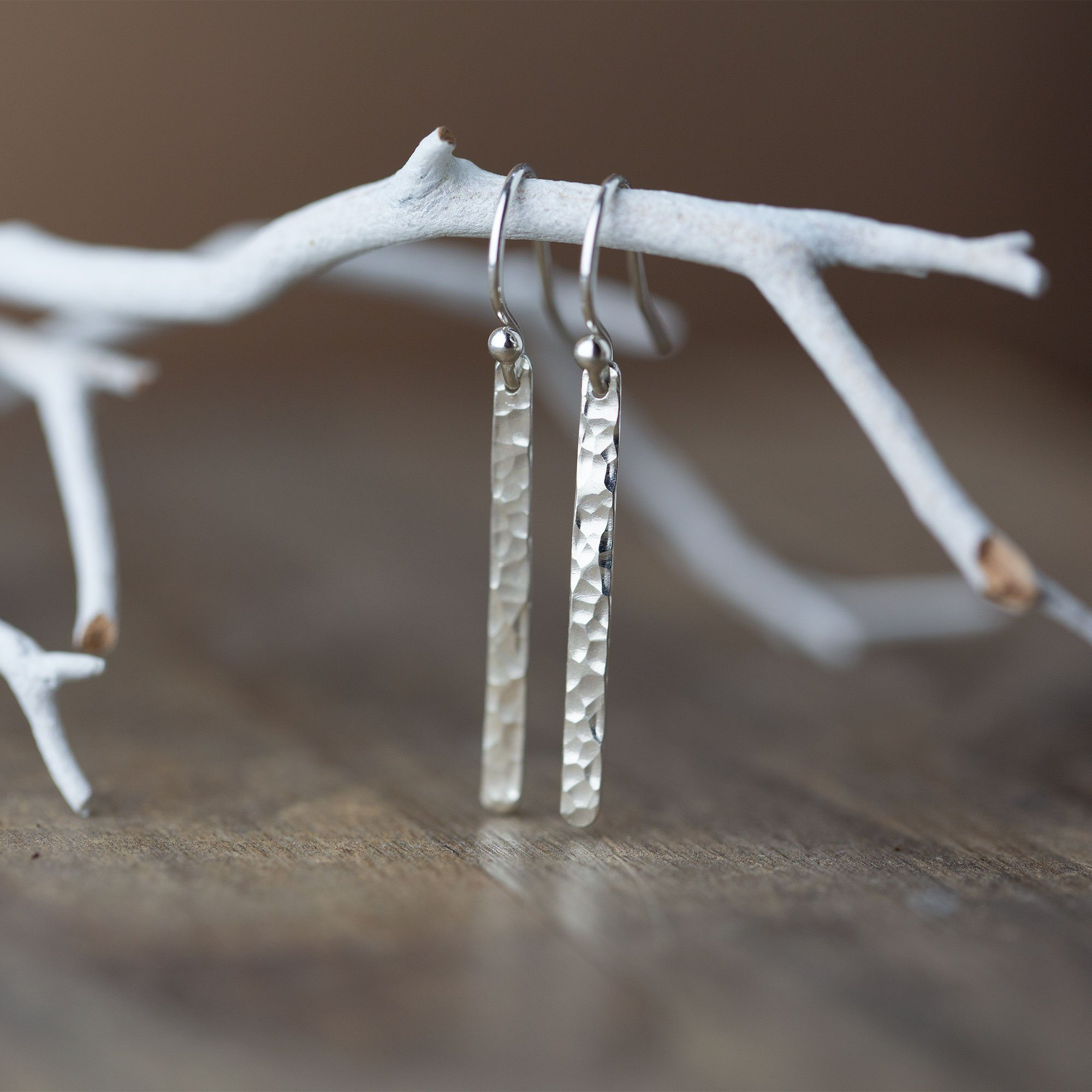 Silver Slim Bar Earrings - Handmade Jewelry by Burnish