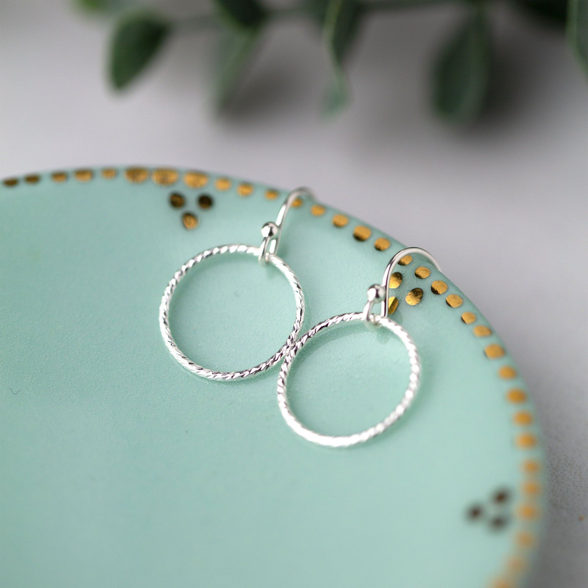 Silver Sparkle Circle Earrings - Handmade Jewelry by Burnish