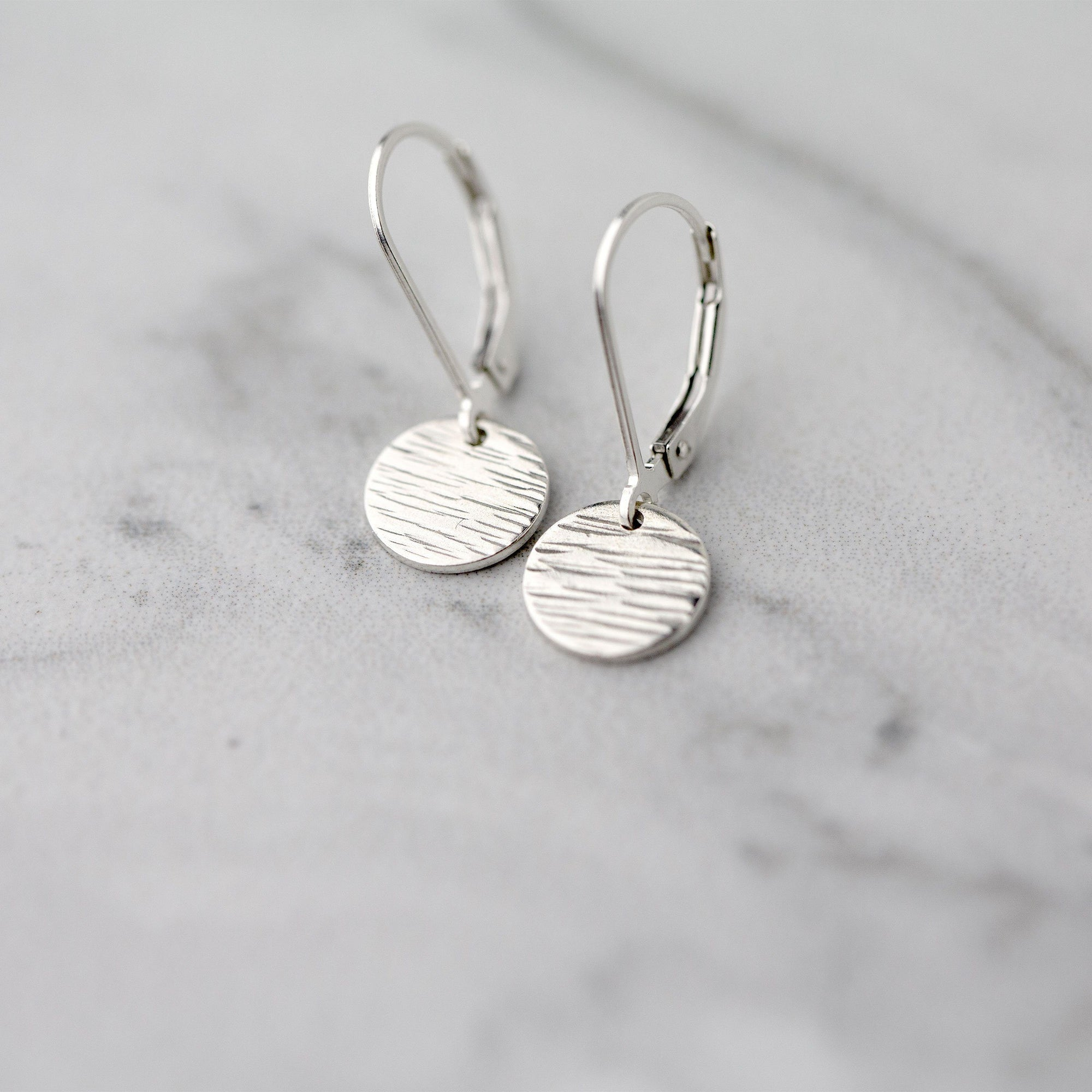 Silver Textured Disc Lever-back Earrings - Handmade Jewelry by Burnish
