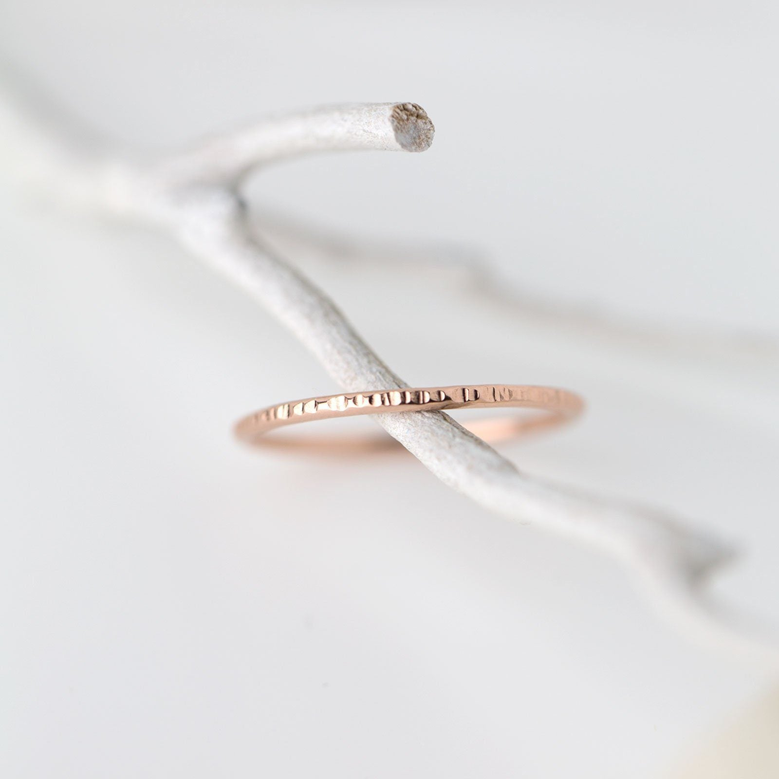 Slim Bark Ring - 14K Rose Gold - Handmade Jewelry by Burnish