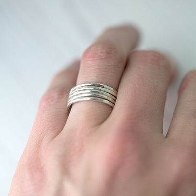 Slim Hammered Ring - Sterling Silver - Handmade Jewelry by Burnish