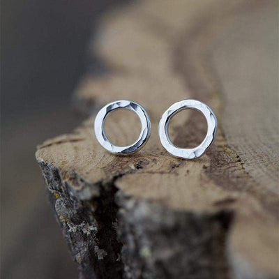 Small Circle Stud Earrings - Handmade Jewelry by Burnish