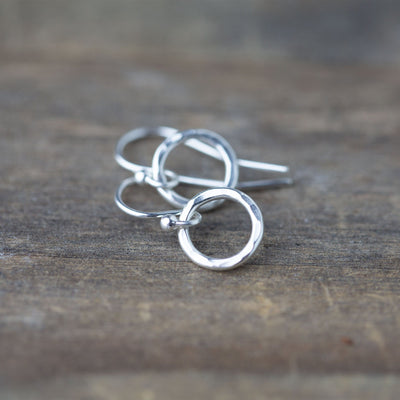 Small Hammered Circle Earrings - Handmade Jewelry by Burnish