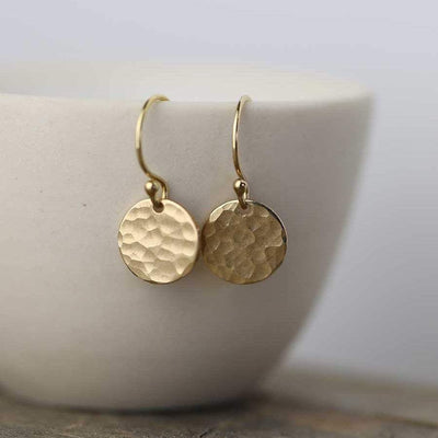 Small Hammered Disk Earrings - Handmade Jewelry by Burnish