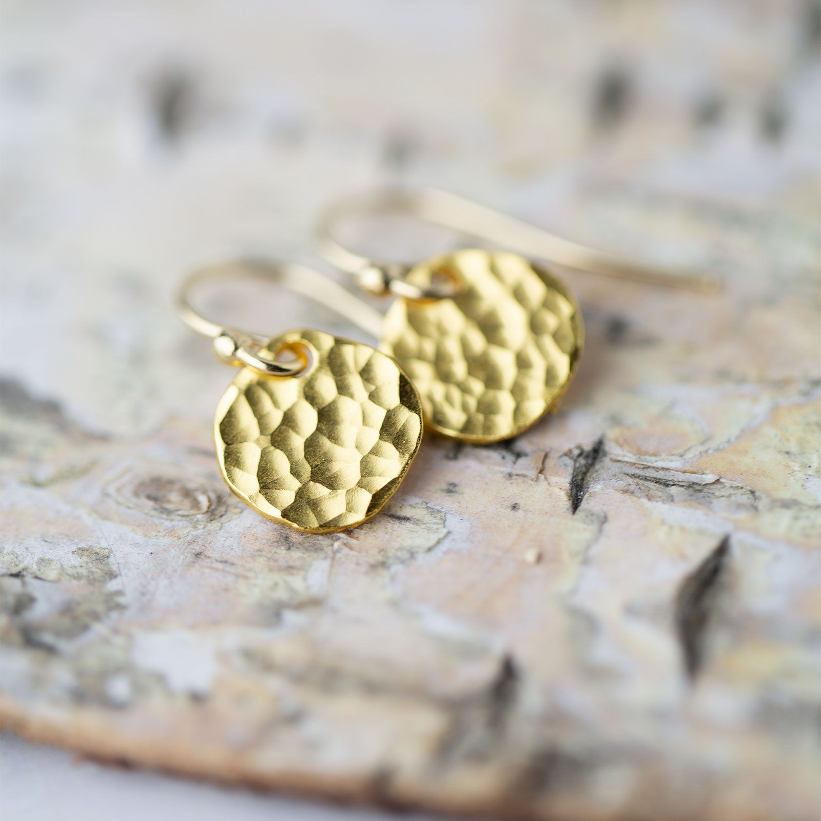 Small Hammered Gold Disk Earrings - Handmade Jewelry by Burnish