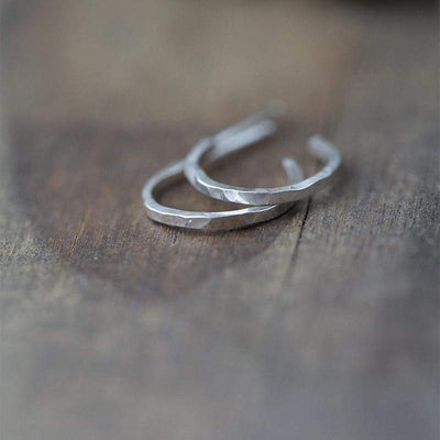 Small Hammered Silver Hoops - Handmade Jewelry by Burnish