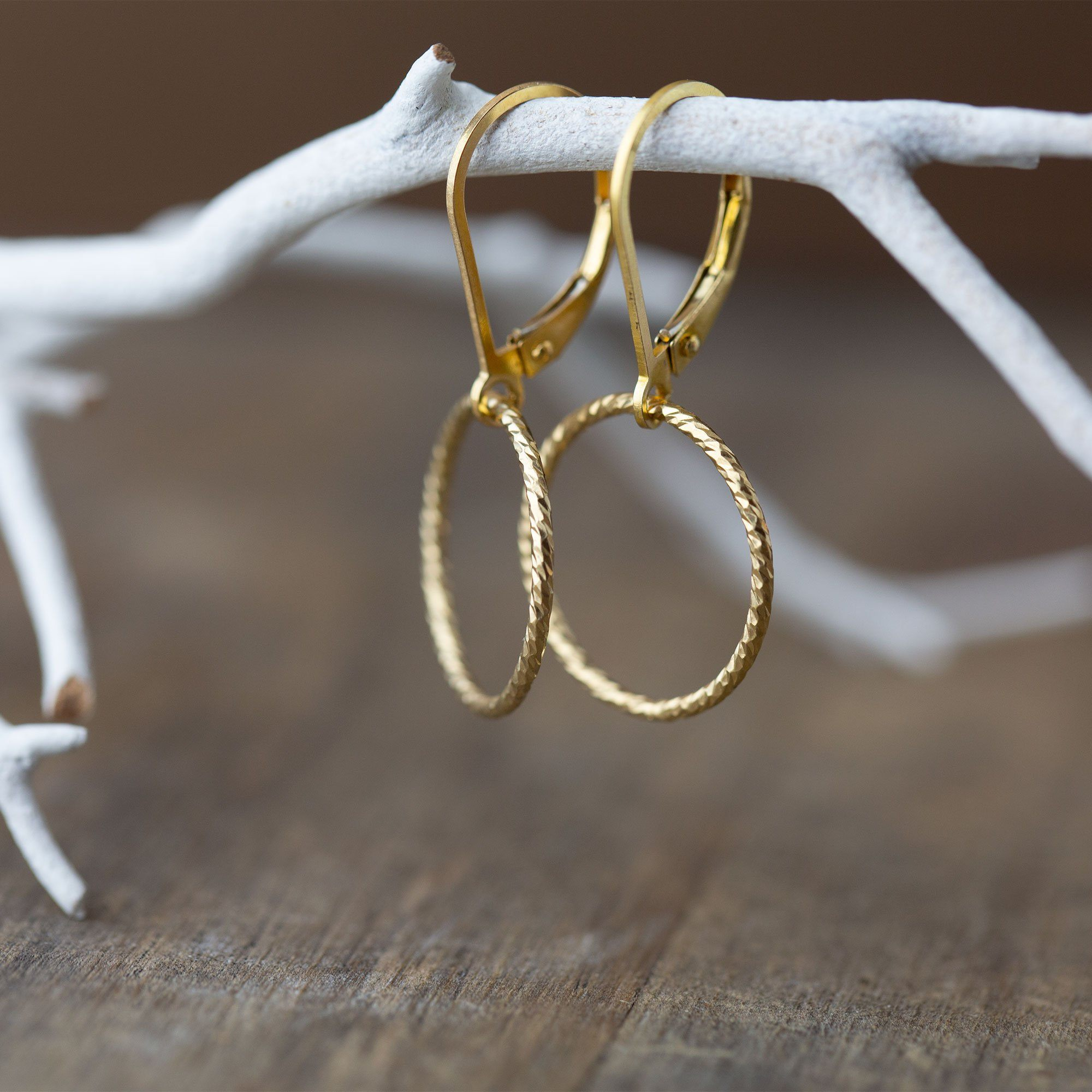 Sparkle Gold Circle Lever-back Earrings - Handmade Jewelry by Burnish