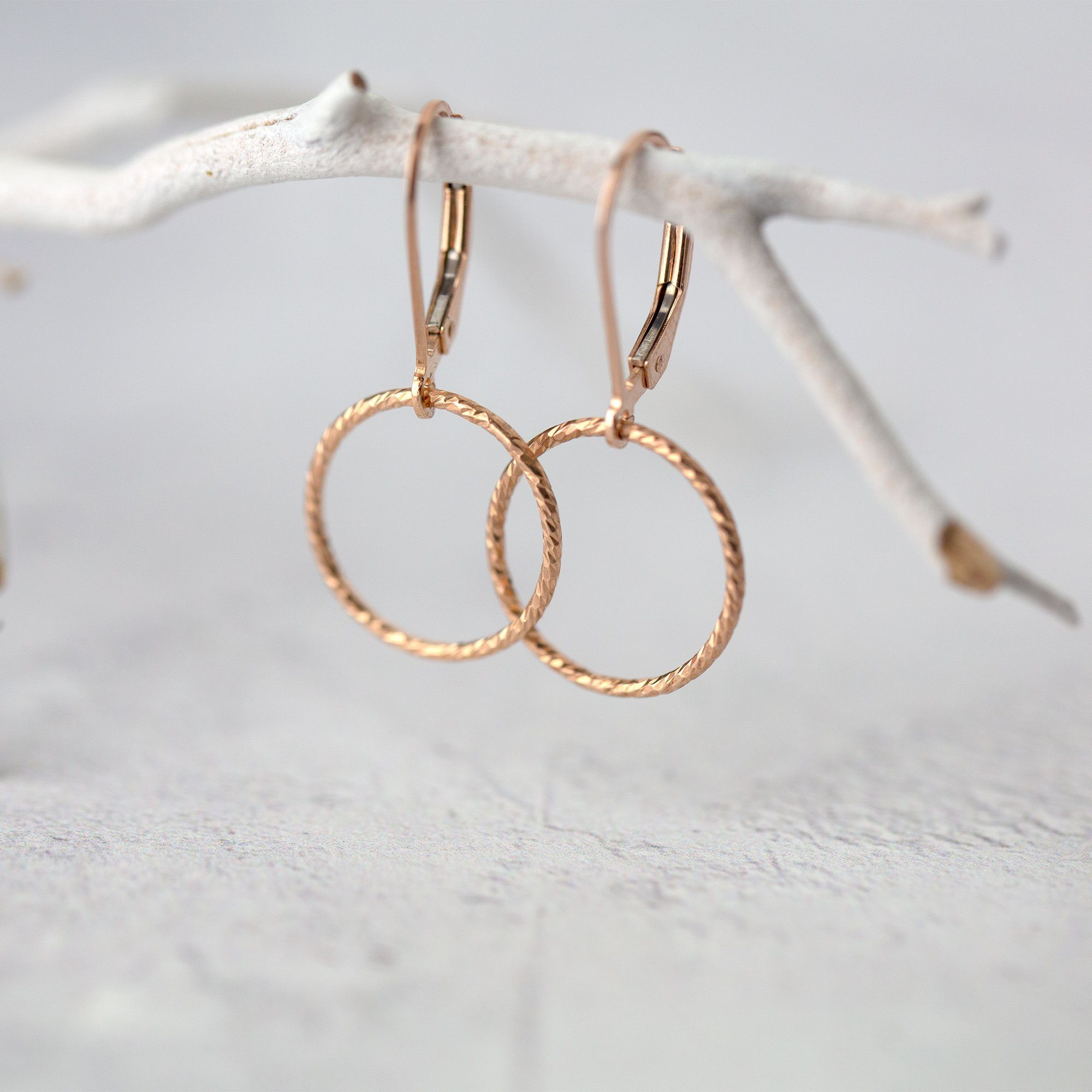 Sparkle Rose Gold Circle Lever-back Earrings - Handmade Jewelry by Burnish