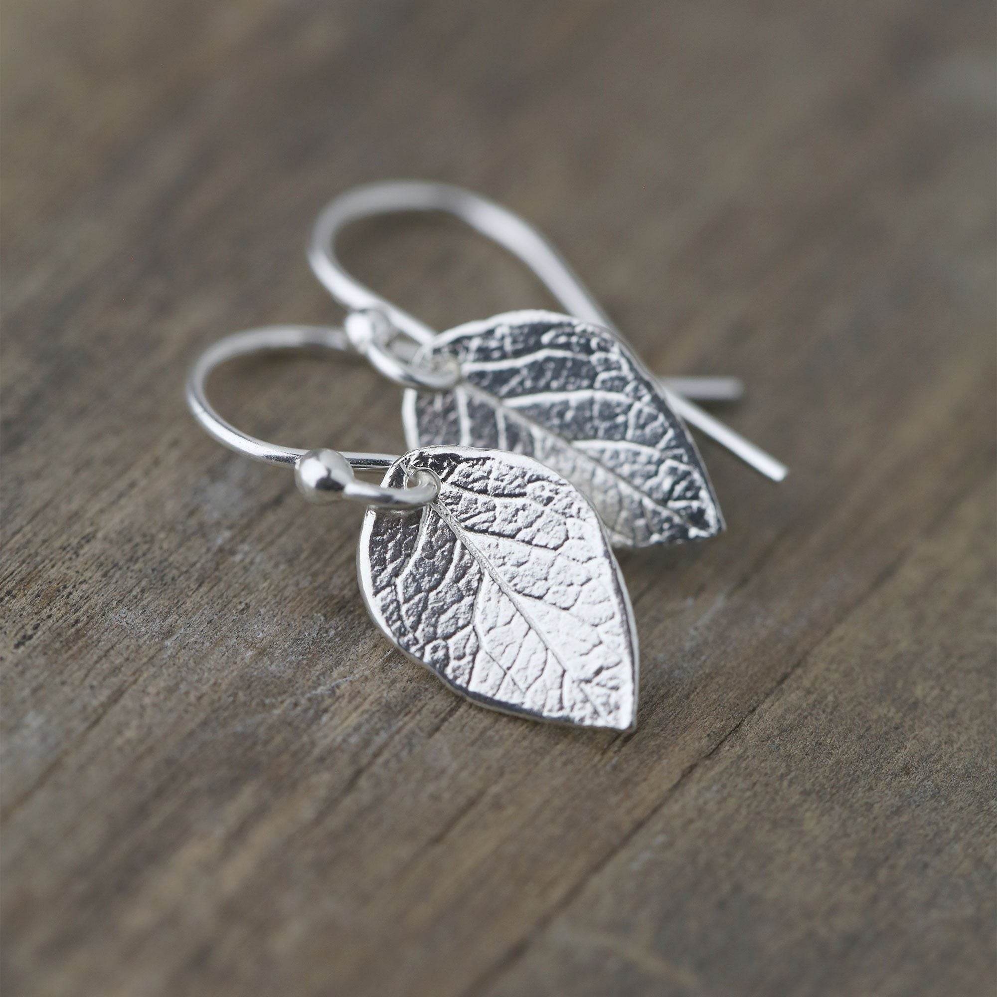 Sterling Silver Leaf Earrings - Handmade Jewelry by Burnish