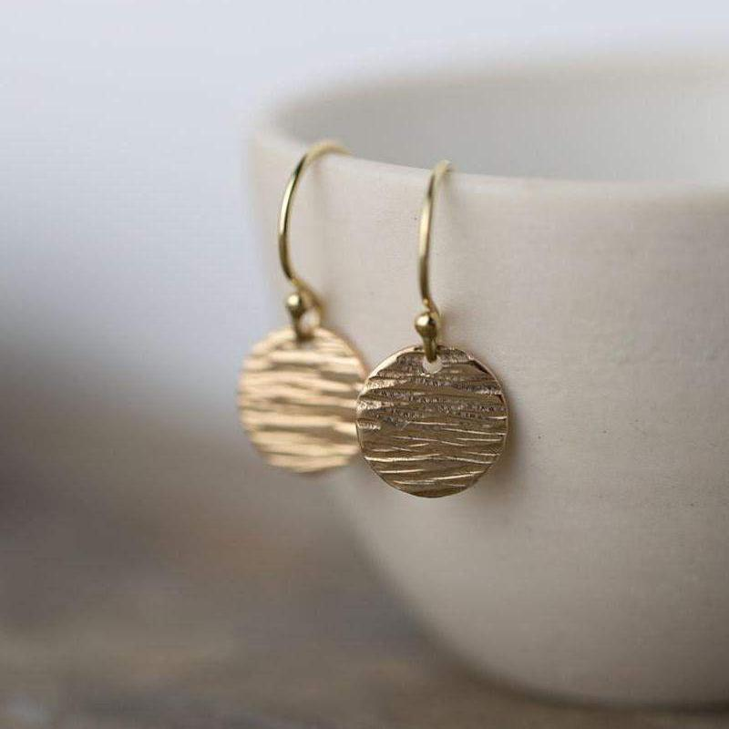Textured Disc Earrings - Gold Filled - Handmade Jewelry by Burnish