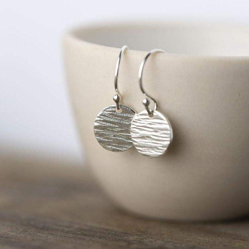 Textured Disc Earrings - Sterling Silver - Handmade Jewelry by Burnish