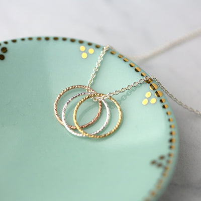 Three Color Sparkle Circle Necklace - Handmade Jewelry by Burnish