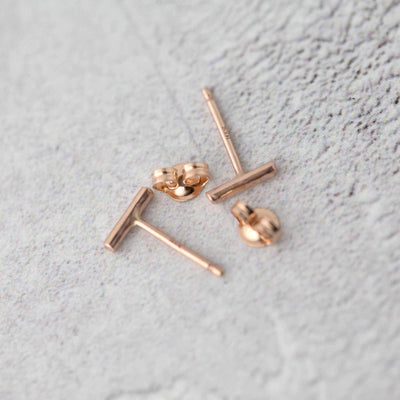 Tiny Bar Stud Earrings - 14K Rose Gold/14K Gold - Handmade Jewelry by Burnish