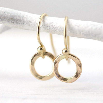 Tiny Circle Earrings - Gold Filled - Handmade Jewelry by Burnish