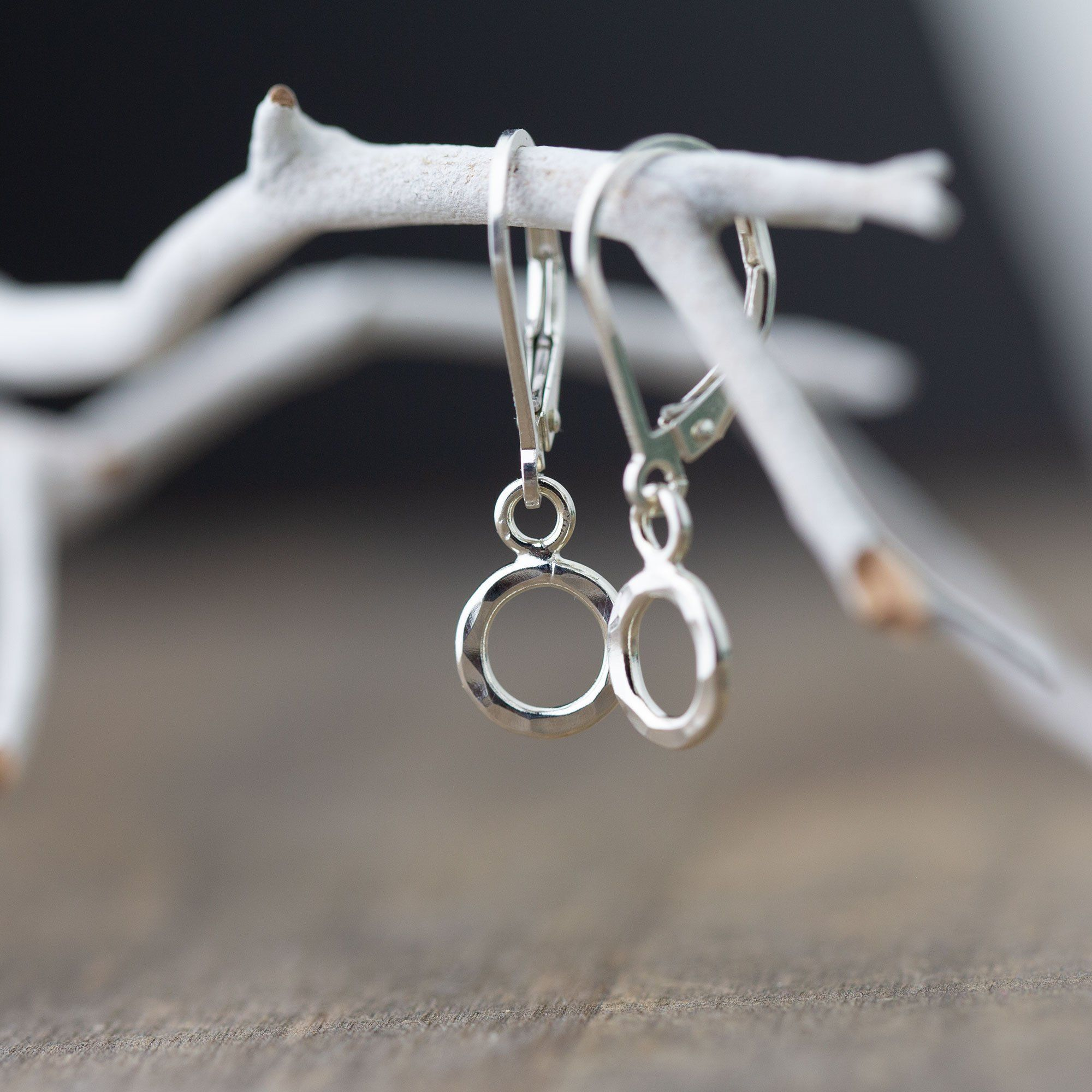 Tiny Hammered Circle Lever-back Earrings - Handmade Jewelry by Burnish