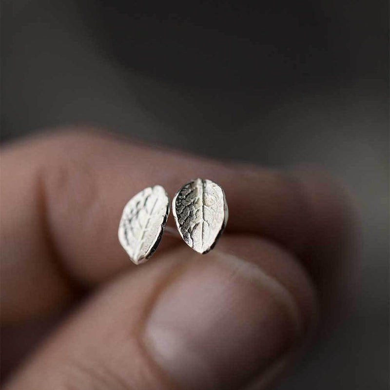 Tiny Leaf Stud Earrings - Handmade Jewelry by Burnish