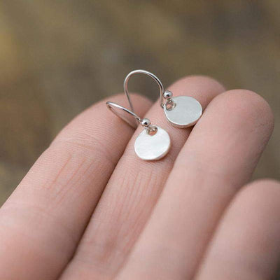 Tiny Organic Coin Earrings - Jewelry by Burnish