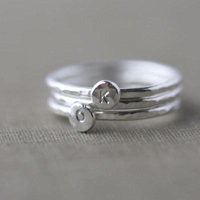Tiny Personalized Initial Ring - Handmade Jewelry by Burnish