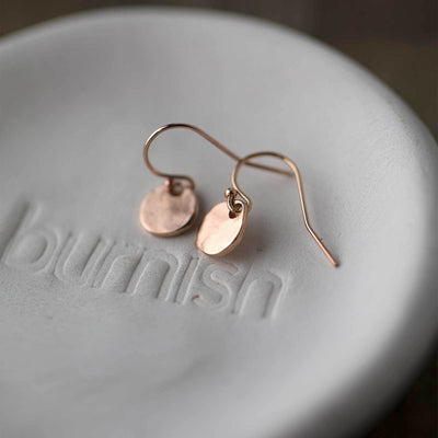 Tiny Rose Gold Organic Disk Earrings - Handmade Jewelry by Burnish