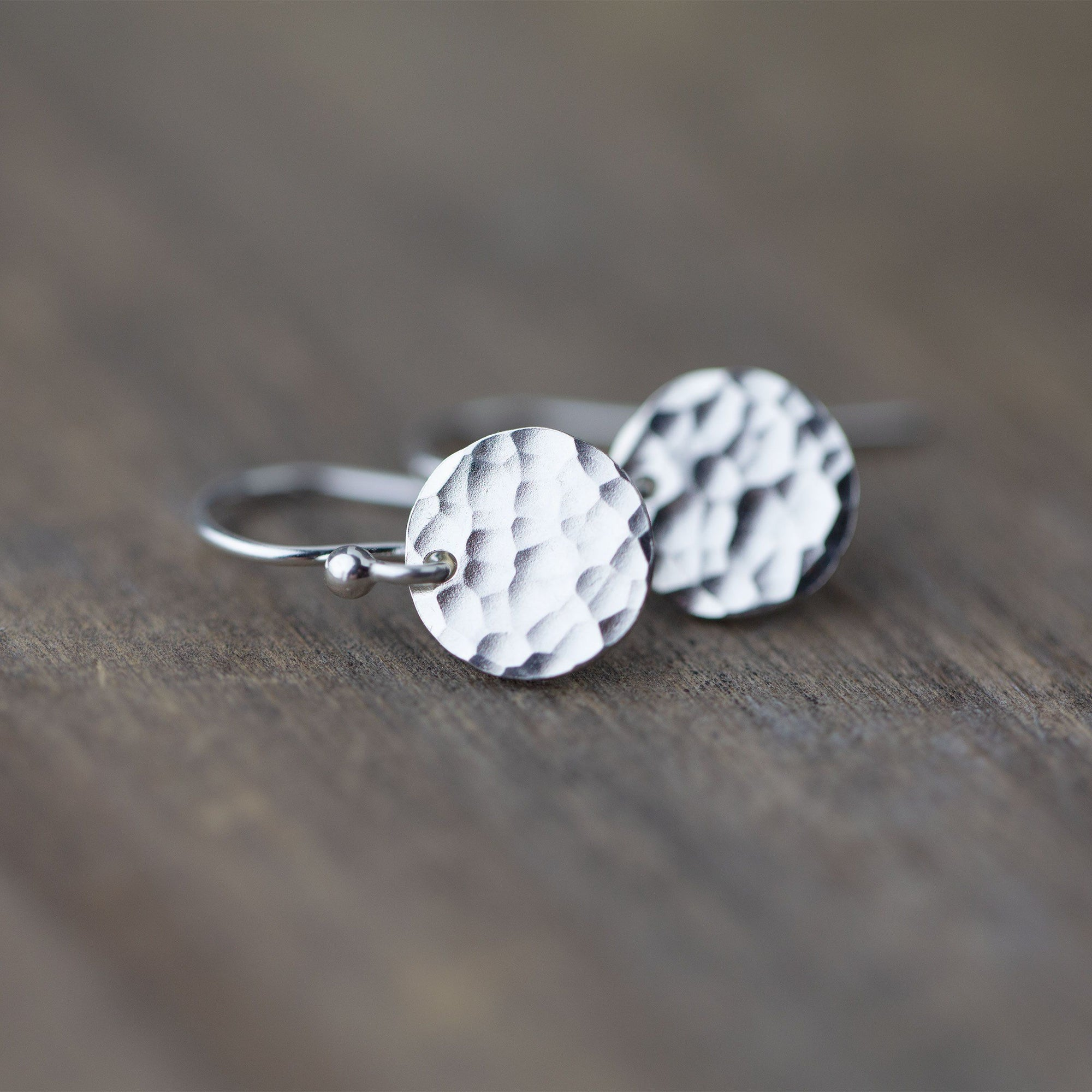 Tiny Silver Hammered Disc Earrings - Handmade Jewelry by Burnish