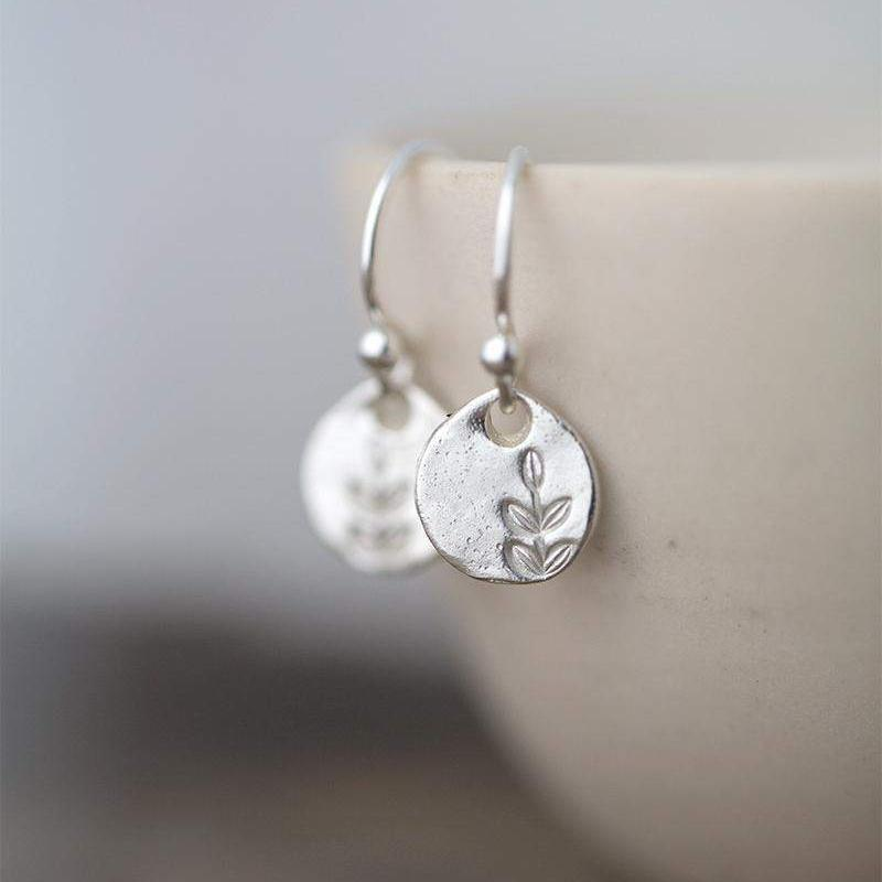 Tiny Stamped Leaf Earrings - Handmade Jewelry by Burnish