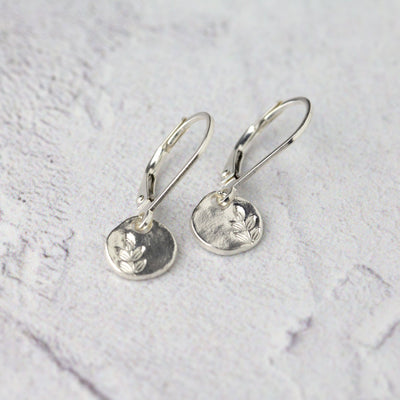 Tiny Stamped Leaf Leverback Earrings - Handmade Jewelry by Burnish