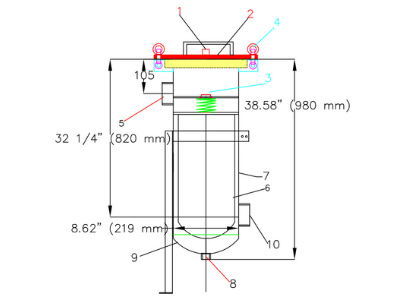 Example #2 Size Bag Filter Housing Dimensional Drawing