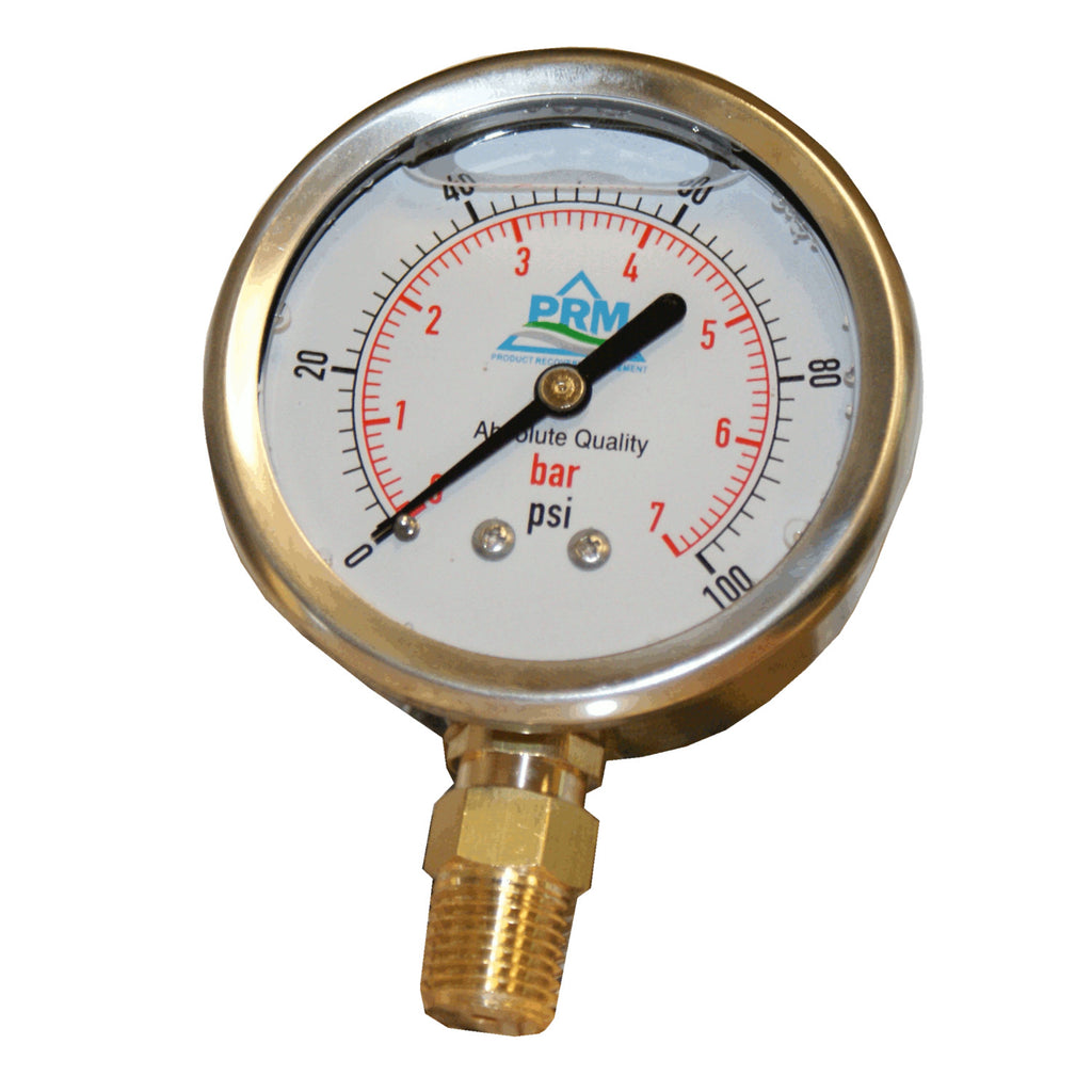 PRM 304 Stainless Steel Pressure Gauge with Brass Internals, 0-100 PSI, 2-1/2 Inch Dial, 1/4 Inch NPT Bottom Mount