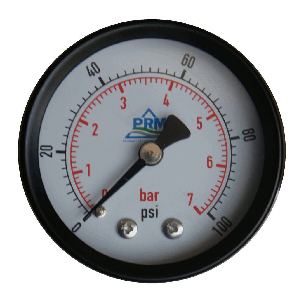 PRM Steel Case Pressure Gauge with Brass Internals, 0-100 PSI, 2 Inch Dial, 1/4 Inch NPT Back Mount