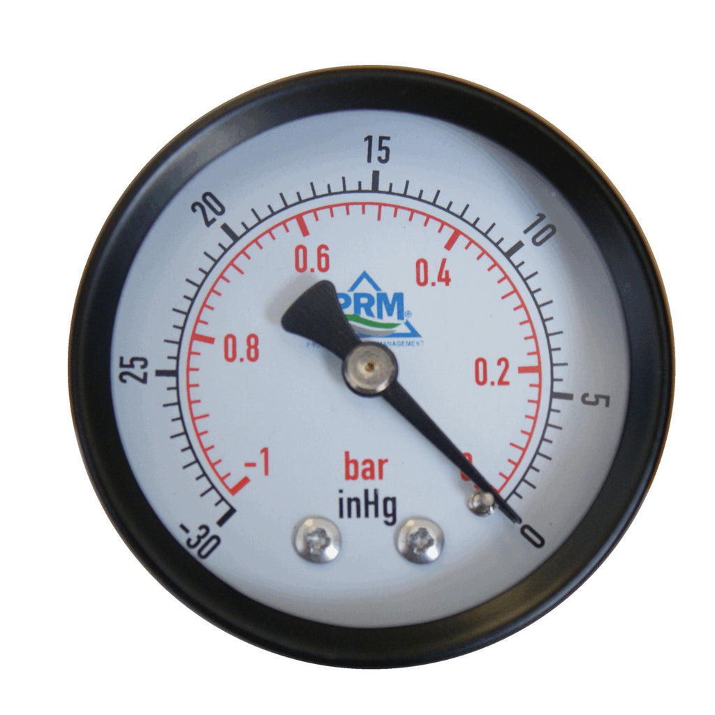 PRM Vacuum Gauge 0 to -30 inHg / 0 to -1 Bar, 2 Inch Black Steel Case, Brass Internals 1/4 Inch NPT Back Mount, Dry Gauge